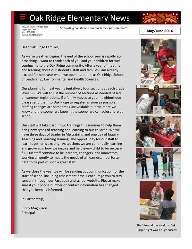 Oak Ridge Elementary News