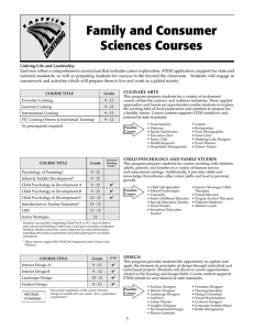 Family and Consumer Sciences Courses