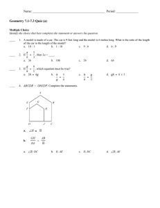Geometry 7.1-7.3 Quiz (a) Name: ______________________________________________  Period: ______________