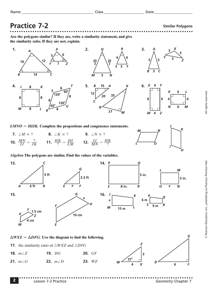 Worksheets Similar Polygons Worksheet practice 7 2
