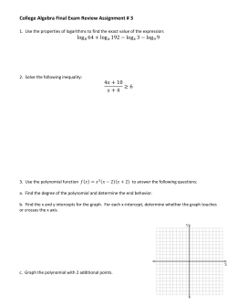 College Algebra Final Exam Review Assignment # 3  log 64 + log