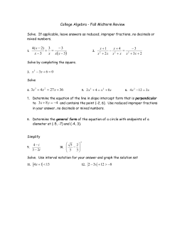   College Algebra - Fall Midterm Review