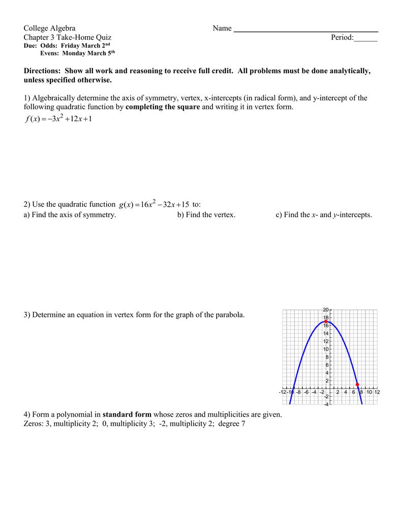 College algebra name chapter 3 take home quiz falaconquin