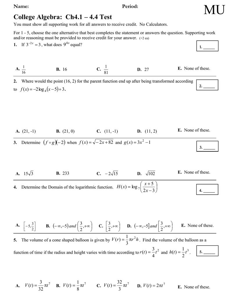 MU College Algebra: Ch4 1 – 4 4 Test