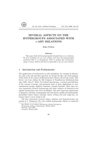 SEVERAL ASPECTS ON THE HYPERGROUPS ASSOCIATED WITH -ARY RELATIONS n