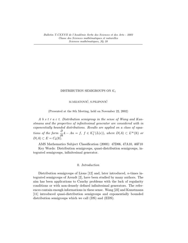 Bulletin T CXXVII de l'Acad´emie Serbe des Sciences et des Arts