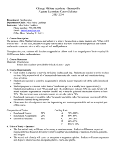 Chicago Military Academy - Bronzeville Algebra Extensions Course Syllabus 2015-2016