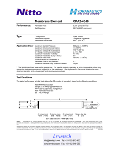 Membrane Element CPA2-4040 Performance: