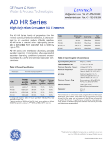 AD HR Series High Rejection Seawater RO Elements