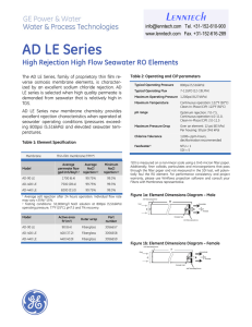 AD LE Series High Rejection High Flow Seawater RO Elements