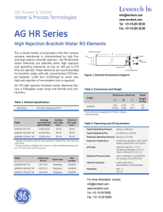 AG HR Series High Rejection Brackish Water RO Elements