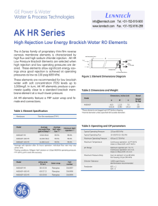 AK HR Series High Rejection Low Energy Brackish Water RO Elements