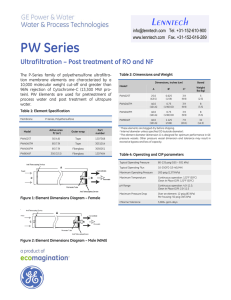 PW Series Ultrafiltration – Post treatment of RO and NF