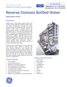 Reverse Osmosis Bottled Water Lenntech Application Brief Introduction