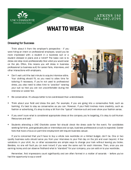 WHAT TO WEAR Dressing for Success