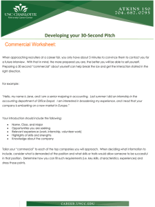 Commercial Worksheet:  Developing your 30-Second Pitch