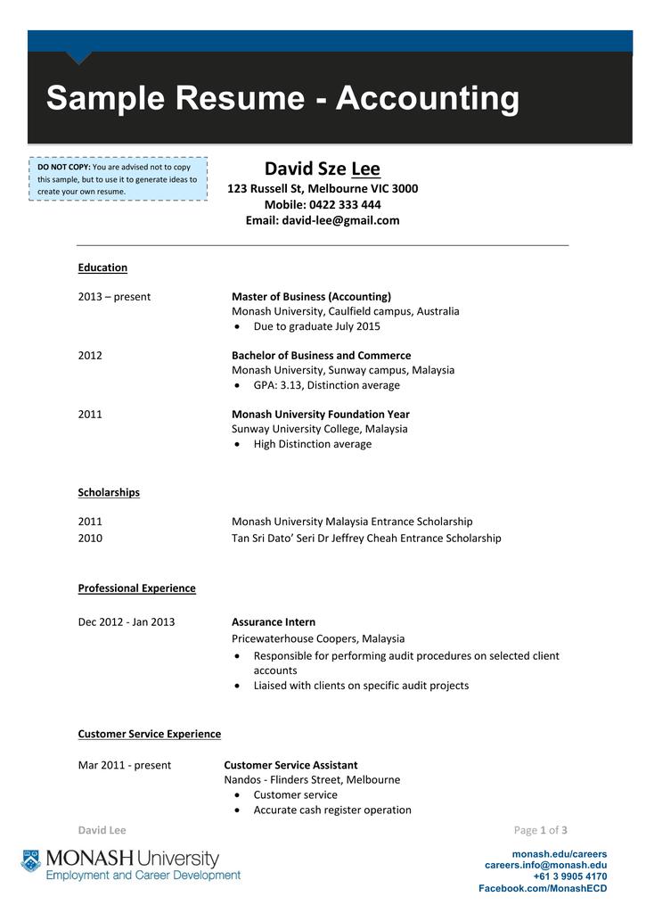 Sample Resume Accounting David Sze Lee Mobile 0422 333 444