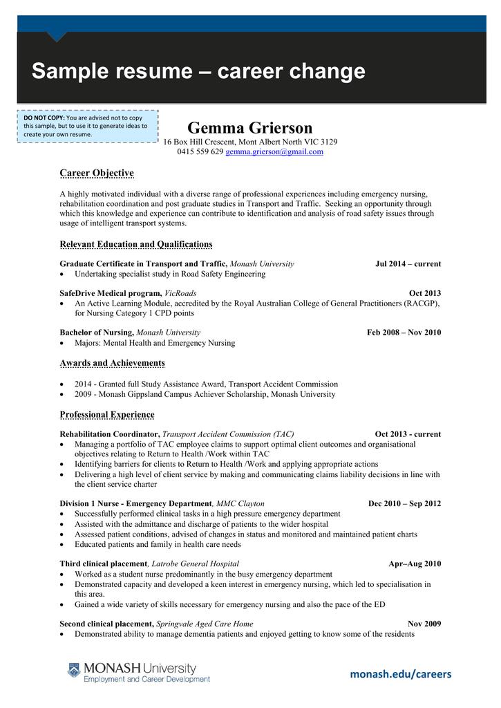 career change sample resume gemma grierson career objective