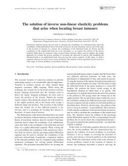 The solution of inverse non-linear elasticity problems JONATHAN P. WHITELEY†‡