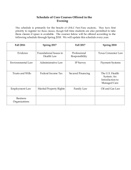 Schedule of Core Courses Offered in the Evening