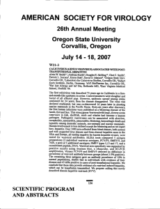 AMERICAN SOCIETY FOR VIROLOGY 26th Annual Meeting