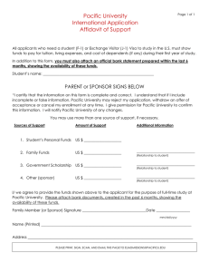 Pacific University International Application Affidavit of Support