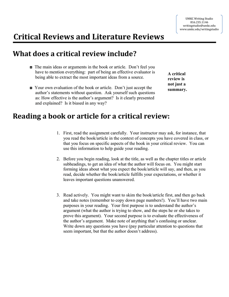 Critical Reviews And Literature Reviews What Does A Critical Review Include?