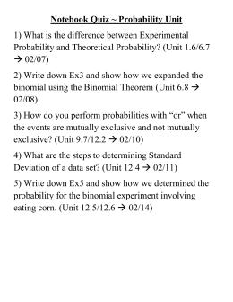 Notebook Quiz ~ Probability Unit Probability and Theoretical Probability? (Unit 1.6/6.7