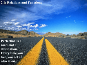 2.1: Relations and Functions Perfection is a road, not a destination.