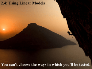 2.4: Using Linear Models
