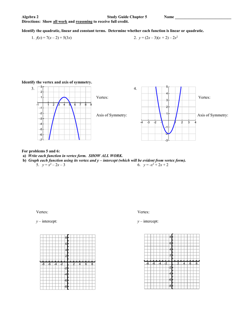 Algebra 2 Study Guide Chapter 5 Name