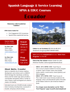 Ecuador Spanish Language & Service Learning SPAN & EDUC Courses Travel