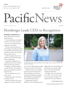 Hornberger Leads CESS to Recognition | pacificu.edu by wanda laukkanen