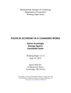 POLITICAL ECONOMY IN A CHANGING WORLD Working Paper 13-12 June 18, 2013
