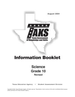 Information Booklet Science Grade 10 Revised