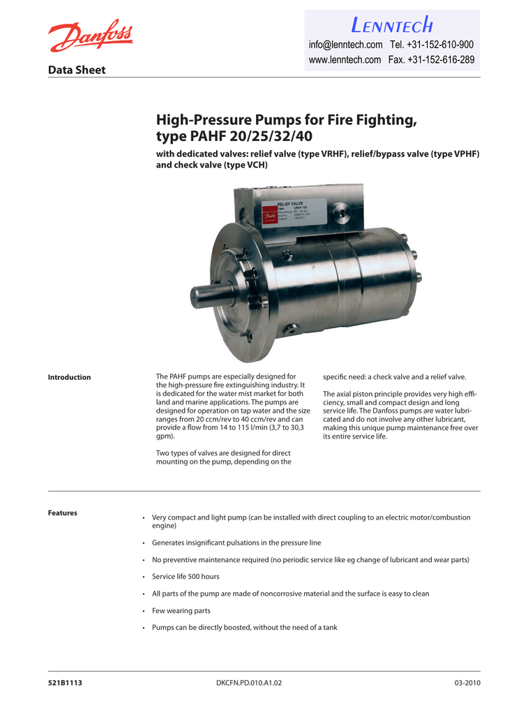 Lenntech High-Pressure Pumps for Fire Fighting, type PAHF 20