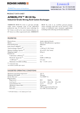 AMBERLITE™ IR120 Na Industrial Grade Strong Acid Cation Exchanger PRODUCT DATA SHEET