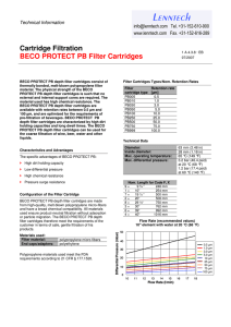 Cartridge Filtration BECO PROTECT PB Filter Cartridges Technical Information