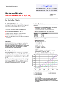 Membrane Filtration BECO MEMBRAN H (0,2 µm) Technical Information For Sterile Gas Filtration