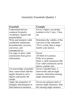 Geometry Essentials Quarter 1