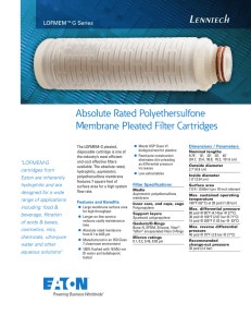 Absolute Rated Polyethersulfone Membrane Pleated Filter Cartridges LOFMEM™G Series