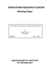 OPERATIONS RESEARCH CENTER Working Paper MASSACHUSETTS  INSTITUTE OF TECHNOLOGY
