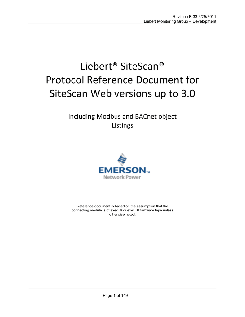 Liebert® SiteScan® Protocol Reference Document for SiteScan Web versions up  to 3.0