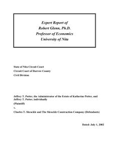 Expert Report of Robert Glenn, Ph.D. Professor of Economics
