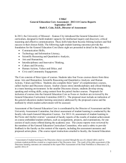 UMKC General Education Core Assessment:  2013-14 Course Reports September 2015