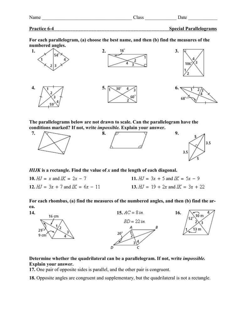 Name Class Date Practice 6 4 Special Parallelograms