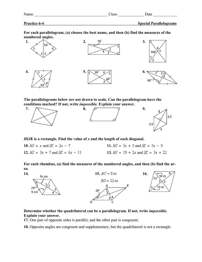 worksheet Special Parallelograms Worksheet name class date practice 6 4 special parallelograms parallelograms