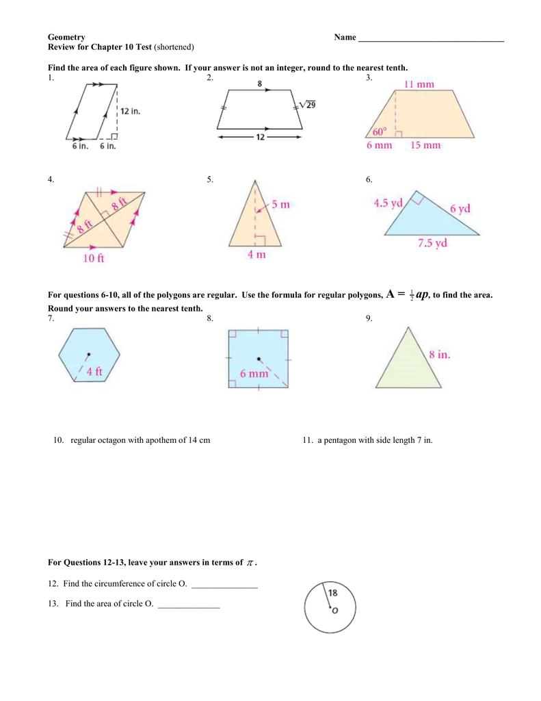 Geometry Name Review for Chapter 10 Test