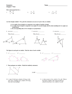 Geometry  Name ___________________________ Chapter 7 Test