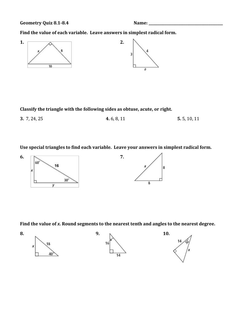 Geometry Quiz 8.1-8.4 Name: